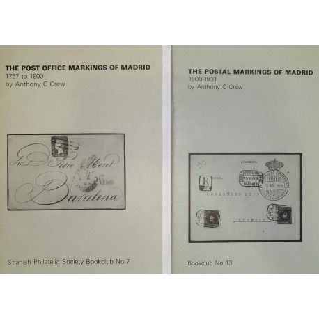 2 libros de la Spanish Philatelic Society Bookclub Nº7 y Nº13. Markings of Madrid. Raros