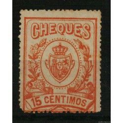 CHEQUES 1913 15 CÉNTIMOS NARANJA. FISCAL