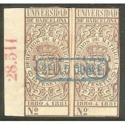 Derechos de Matricula. Universidad de Barcelona 1880-81. Sello Doble